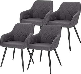Lestarain 4X Sillas de Comedor Dining Chairs Sillas Tapizadas Sillas Salón Sillas Cocina Nórdicas Lino Paquete de 4 Sillas Bar Metal Silla de Oficina Gris Oscuro