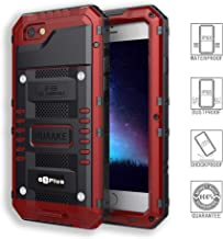 Waterproof Case Metal Diving Protection Cover Dustproof Shockproof Outdoor Sports Special Mobile Phone Case Strong and Sturdy for Iphone6s&6 Plus (Red, Iphone6/6s Plus)