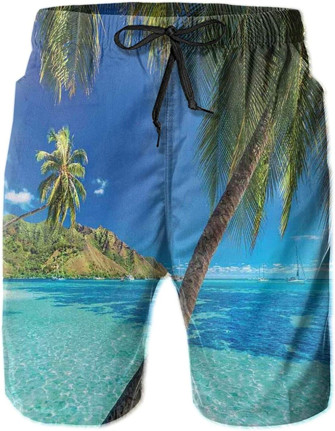 Image of A Tropical Island with The Palm Trees and Clear Sea Beach Nature Theme Print Swimming Trunks for Men Beach Shorts Casual Style,L
