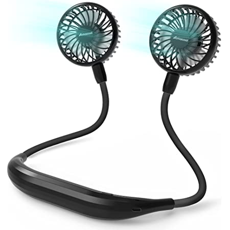 Amacool Neck Fan 2600mah Battery Operated Neckband Fan 6-Speed Hand-Free Wearable Personal USB Fan for Hot Flashes Home Office Travel Outdoor Sports (Black)