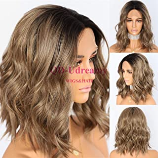 QD-Udreamy Black Roots To Ombre Brown Lace Front Wigs Short Natural Wavy Hair Glueless Synthetic Wigs for Women