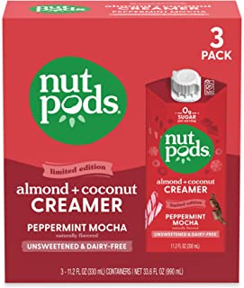nutpods Peppermint Mocha, (3-Pack), Unsweetened Dairy-Free Creamer, Made from Almonds and Coconuts, Whole30, Gluten Free, ...