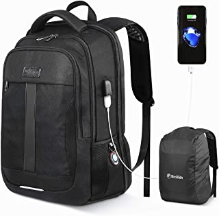 Laptop Backpack Business Travel Anti-Theft Work Computer Rucksack with USB Charging Port 15.6-inch Water Resistant Casual Daypack Large College School Bag for Boys Men Women Black, with Rain Cover