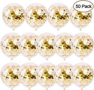 SKYIOL Ballons Confettis Or 50 Pièces 30 cm Gold Paillettes en Latex Hélium Ballon pour Enfants Filles Fête Party Célébrat...