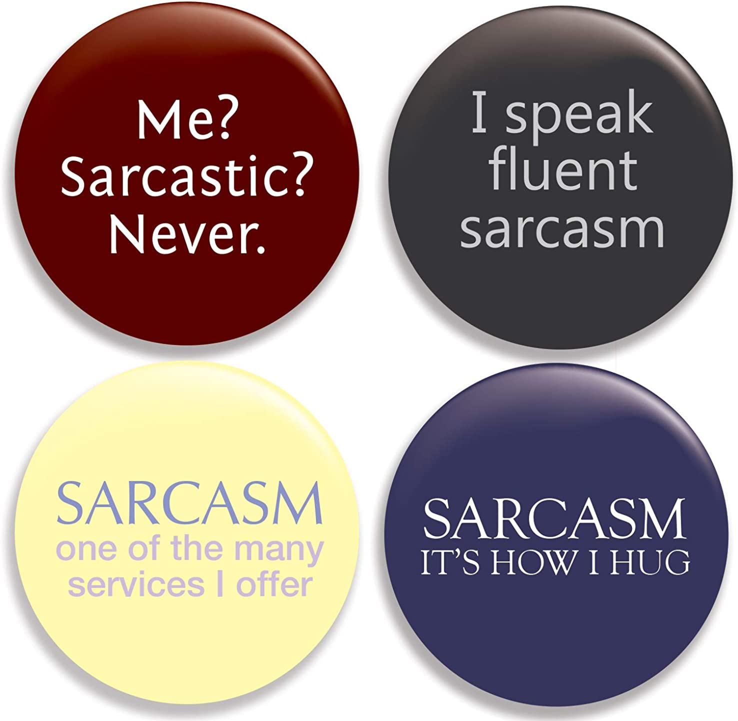 Year-end annual account Funny Sarcastic Pinback Buttons New product! New type Pins Set 4 of inches 2.25