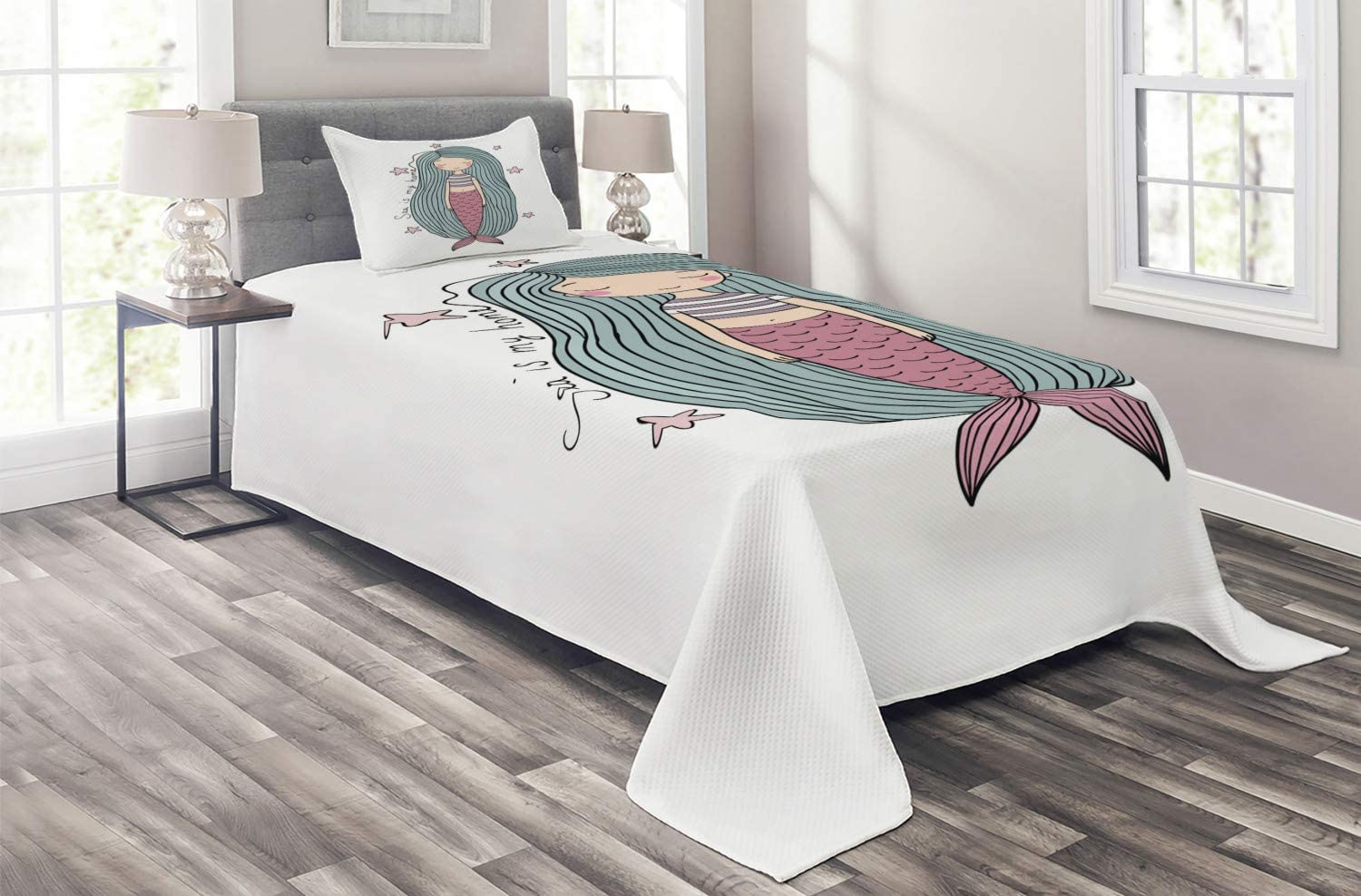 Ambesonne Mermaid Coverlet Sea is My Home Limited price Stra Ranking TOP1 Written Words in