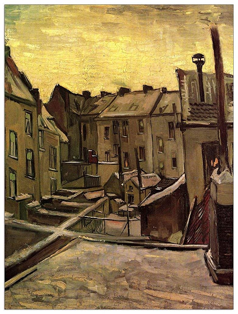 ArtPlaza TW90576 Van Gogh Vincent - Backyards of Old Houses in Antwerp in The Snow Decorative Panel 27.5x35.5 Inch Multicolored