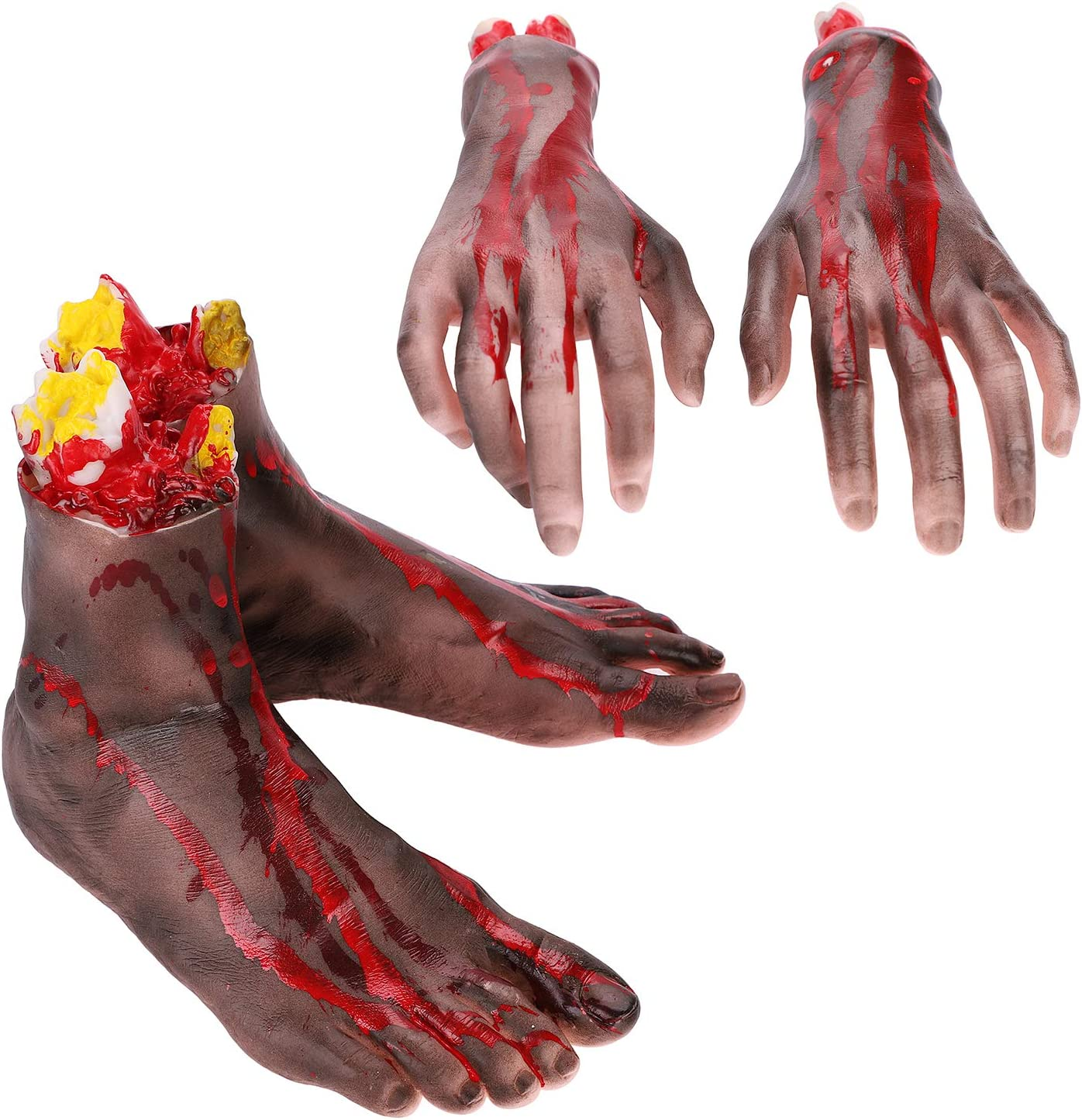 Severed Foot,Halloween Severed Limbs Bloody Hand Severed Arm Prop Haunted House Prop Bloody Arm Severed Hand Prop Severed Finger Dead Body Prop Parts Broken Arm Scary Hand Horror Halloween Accessories