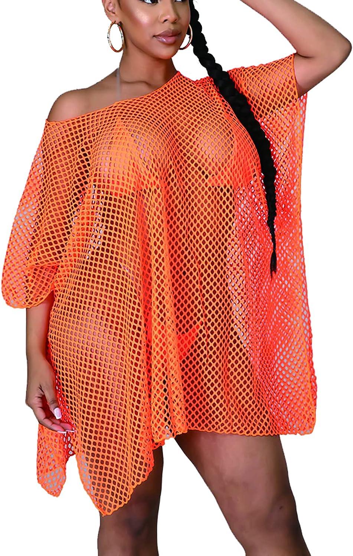 Bluewolfsea Women Sexy Beach Coverups See Through Sheer Mesh Fishnet Loose T Shirt Mini Dress with Slit Beachwear