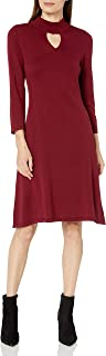NINE WEST Women's 3/4 Sleeve Mock Neck Dress with Keyhole Detail