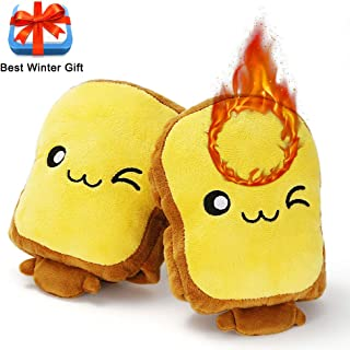 Eaterhom Toast USB Hand Warmers, Super Cute Fingerless Heated Typing Gloves USB Powered Wearable Plush No Finger Laptop Warmer Mittens for Women and Children—Cold-Proof and Best Winter Gift- Yellow