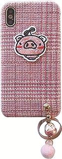 Vivox50 / X30、iPhone 6P / 6SPの電話ケース、格子縞の布の衝撃吸収漫画保護カバー、ペンダント(ピンク)の3Dピギーバンパー VIVO S5