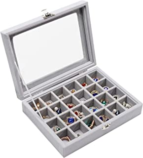 Stylifing Clear Lid Velvet 24 Grid Jewelry Tray Stackable Display Showcase Lockable Organizer Box(24 Grid Grey)