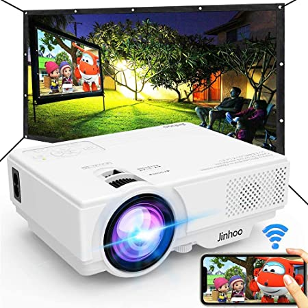"""Jinhoo WiFi Projector, [100"""" Projector Screen Included] 6500L Outdoor Movie Projector, 1080P Supports Synchronize Smartphone Screen by WiFi/USB Cable for Home Entertainment"""