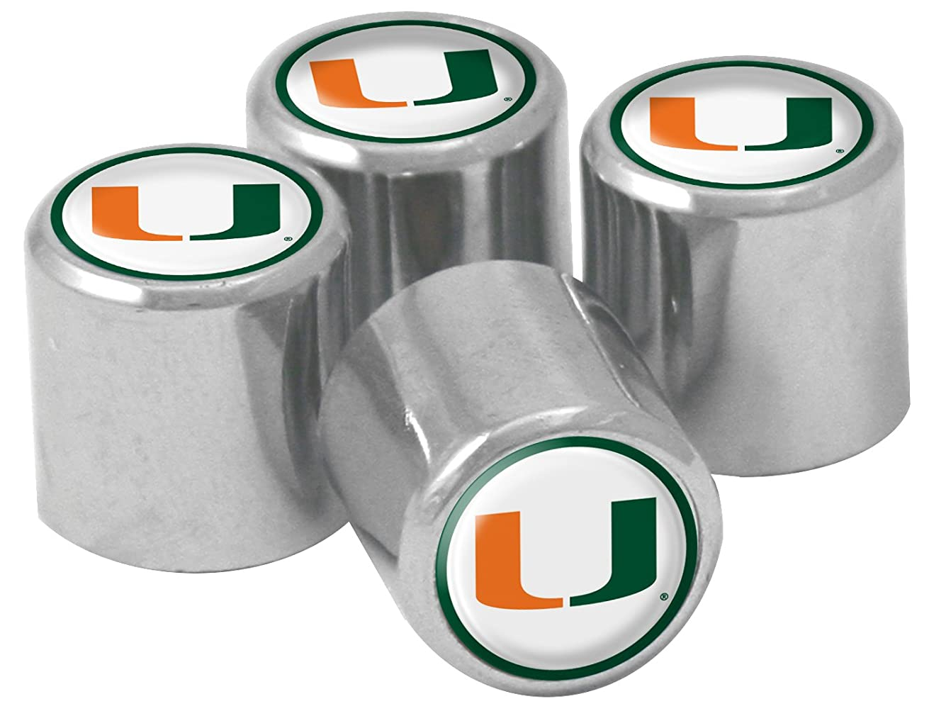 NCAA Miami Hurricanes Metal Tire Valve Stem Caps, 4-Pack