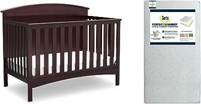Delta Children Archer 4-in-1 Crib, Dark Chocolate + Serta Perfect Slumber Dual Sided Recycled Fiber Core Crib and Toddler Mattress (Bundle)