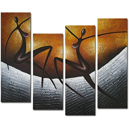 Wieco Art African Dancers Large Modern Stretched And Framed 100 Hand Painted Contemporary Artwork Abstract Oil Paintings On Canvas Wall Art For Living Room Bedroom Home Decorations Wall Decor Xl Amazon In