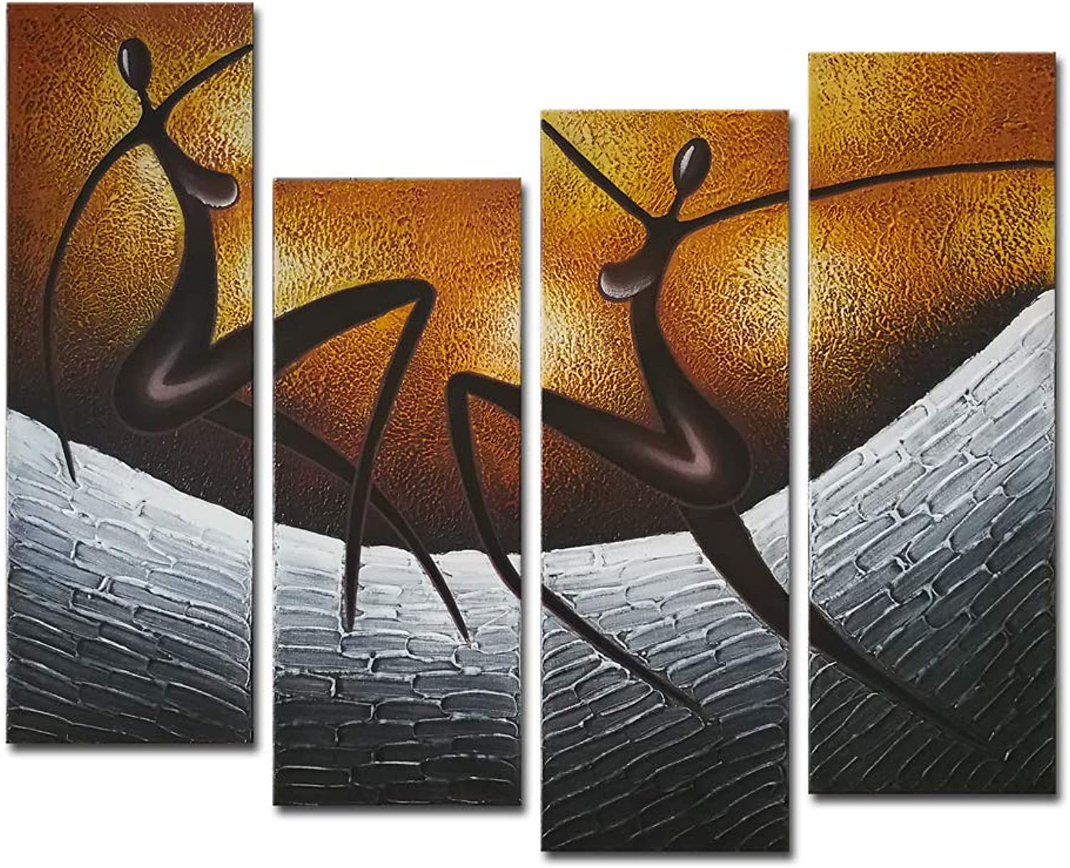Wieco Art African Dancers Large Modern Stretched and Framed 100% Hand Painted Contemporary Artwork Abstract Oil Paintings on Canvas Wall Art for Living Room Bedroom Home Decorations Wall Decor XL