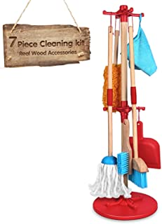 Wooden Detachable Toy Cleaning Set, Kids Cleaning Toys 7 Piece -Includes Kid-Sized with Housekeeping Broom, Mop, Duster, D...