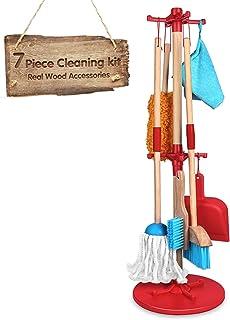 مجموعة ادوات تنظيف للاطفال من 7 قطع - مجموعة العاب تنظيف خشبية قابلة للفصل بحجم مناسب للاطفال تتضمن مكنسة تنظيف وممسحة ومن...