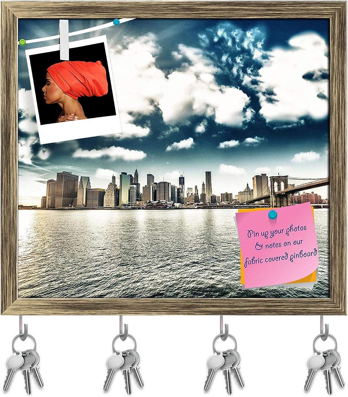 Artzfolio Brooklyn Bridge & Manhattan Skyline, New York, USA Key Holder Hooks   Notice Pin Board   Antique golden Frame 17.7 X 16Inch