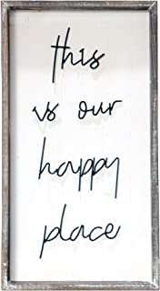 Barnyard Designs This is Our Happy Place Wall Sign, Rustic Decorative Hanging Wood Sign Home Decor 30