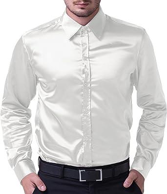 Camisa Camisa de Hombre Slim Fit Corte clásico Satin Talla M Blanco