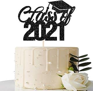 Black Glitter Class of 2020 Cake Topper - 2020 Graduation Party Decorations Supplies - Graduation Cake Topper - Grad Party...