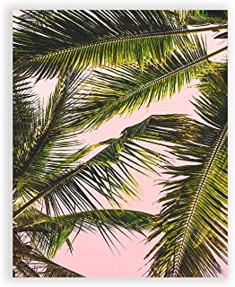 Humble Chic Wall Art Prints - Beach Series Home Decor Contemporary Poster Picture Decorations for Living Room, Dining, Bedroom, Office, Dorm - Pink Palms Tropical Tree, 8x10 Vertical