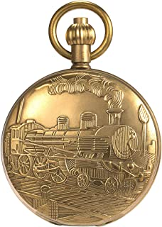 Skeleton Pocket Watch - Pure Cooper Finish Covered Horizontal Phases Moon Sun 24-Hour Coper Chain