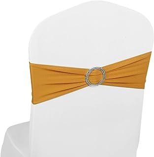 Kentop per Matrimoni con Fiocco Feste 85-96cm Gold Fascia Elastica per Sedia anniversari