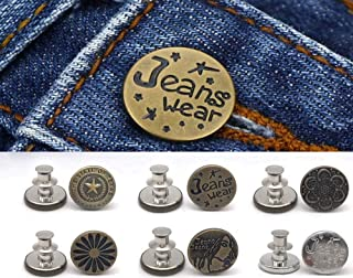 6 Set Perfect Fit Instant Button,Adjustable Jeans Button, Metal Button Adds Or Reduces an Inch to Any Pants Waist in Seconds