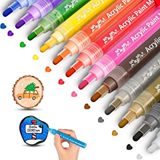 MayMoi Acrylic Paint Pens Reversible Tip for Rock Painting, Stone, Ceramic, Glass, Wood, Fabric, Canvas (12 Colors & Mediu...