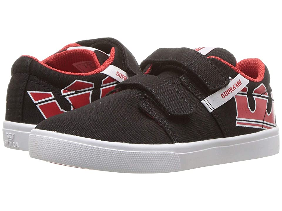 Supra Kids Stacks Vulc II V (Toddler) (Black/Risk Red/White) Boys Shoes