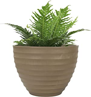 LA JOLIE MUSE 10.2 Inch Fluted Plant Pot for Indoor and Outdoor, Urban Chic Planter with Horizontal Ridges, Taupe