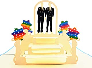 iGifts And Cards Fancy Gay Couple Celebration 3D Pop Up Greeting Card - Wedding, Marriage, Engagement, Anniversary, Half-Fold, Pride, Lovers, Men, Grooms, Husbands, True Love, Rainbow, Unique, Happy
