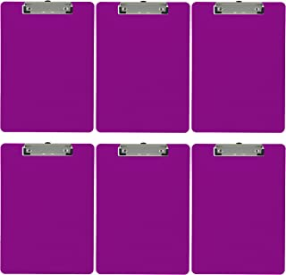 Trade Quest Plastic Clipboard Opaque Color Letter Size Low Profile Clip (Pack of 6) (Purple)