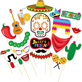 Tinksky Cinco de Mayo Fiesta Photo Booth Props Mexican Party Supplies Mexican Posing Props Festive Party Favors, Pack of 20