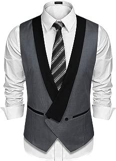 Mens Dress Vest Formal Business Waistcoat One Button Slim Fit Suit Vest
