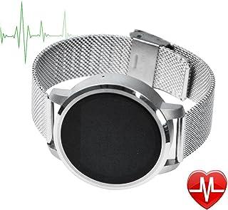 TechCommYang Reloj Podómetro y Pulsometro Podómetro IP57 Resistente al Agua Bluetooth 4.0 Cámara Del Telecontrol De Bluetooth Detección De Sueño Recordatorio Sedentario - Plata