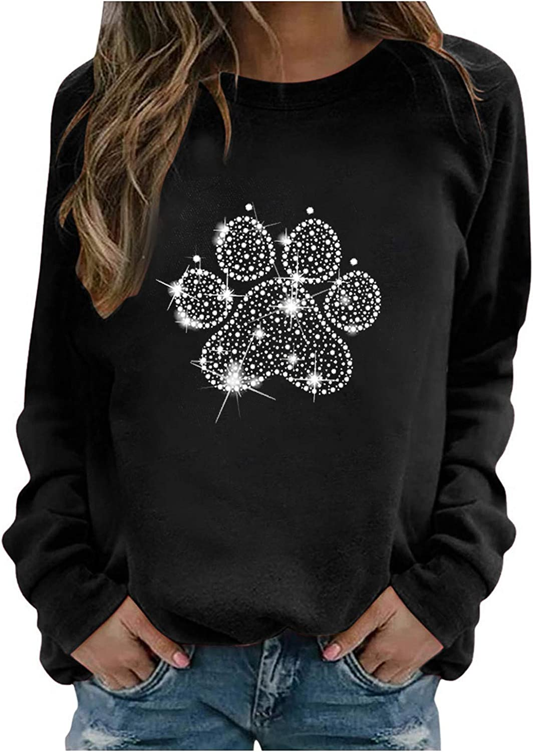 Pullover Tops for Women,Women's Print Rhinestone Long Sleeve Hoodies Casual Loose Hooded Top Shirts Blouse