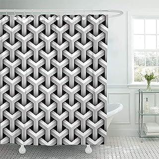 Bath Curtain Optical of Grey Blocks Patern Cube Net Abstract with Hooks Baño Cortina De Ducha Moderna Impermeable Cortina De Baño Ajustable Cortina De Baño Decorativa