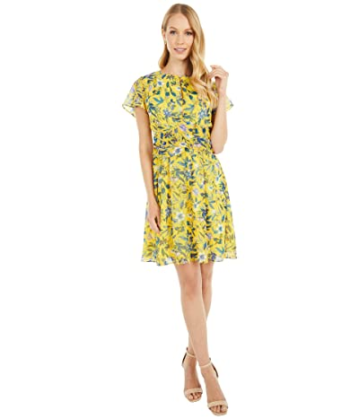 Sam Edelman Retro Floral A-Line (Yellow Multi) Women