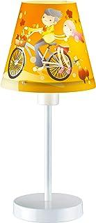 Lámpara de mesa infantil, color blanco y naranja, diseño colorido de 30 cm de alto, para niña, lámpara de mesita de noche, lámpara para habitación infantil