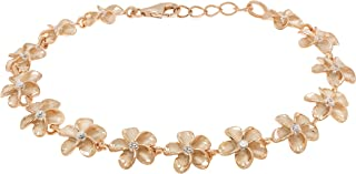Honolulu Jewelry Company 14k Rose Gold Plated Sterling Silver Plumeria Bracelet with CZs