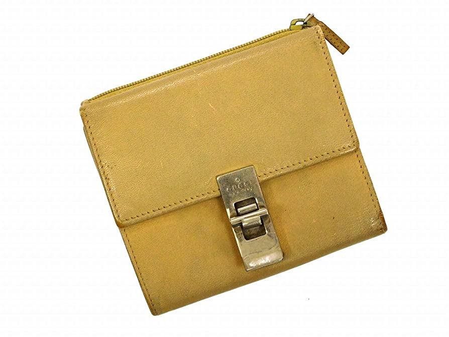 不均一不従順侮辱[グッチ] GUCCI 二つ折り財布 レザー X10479 中古