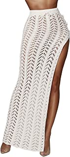 Kistore Womens Crochet Cover Up Skirts Sexy Hollow Out Beach Maxi Skirt with Side Slits