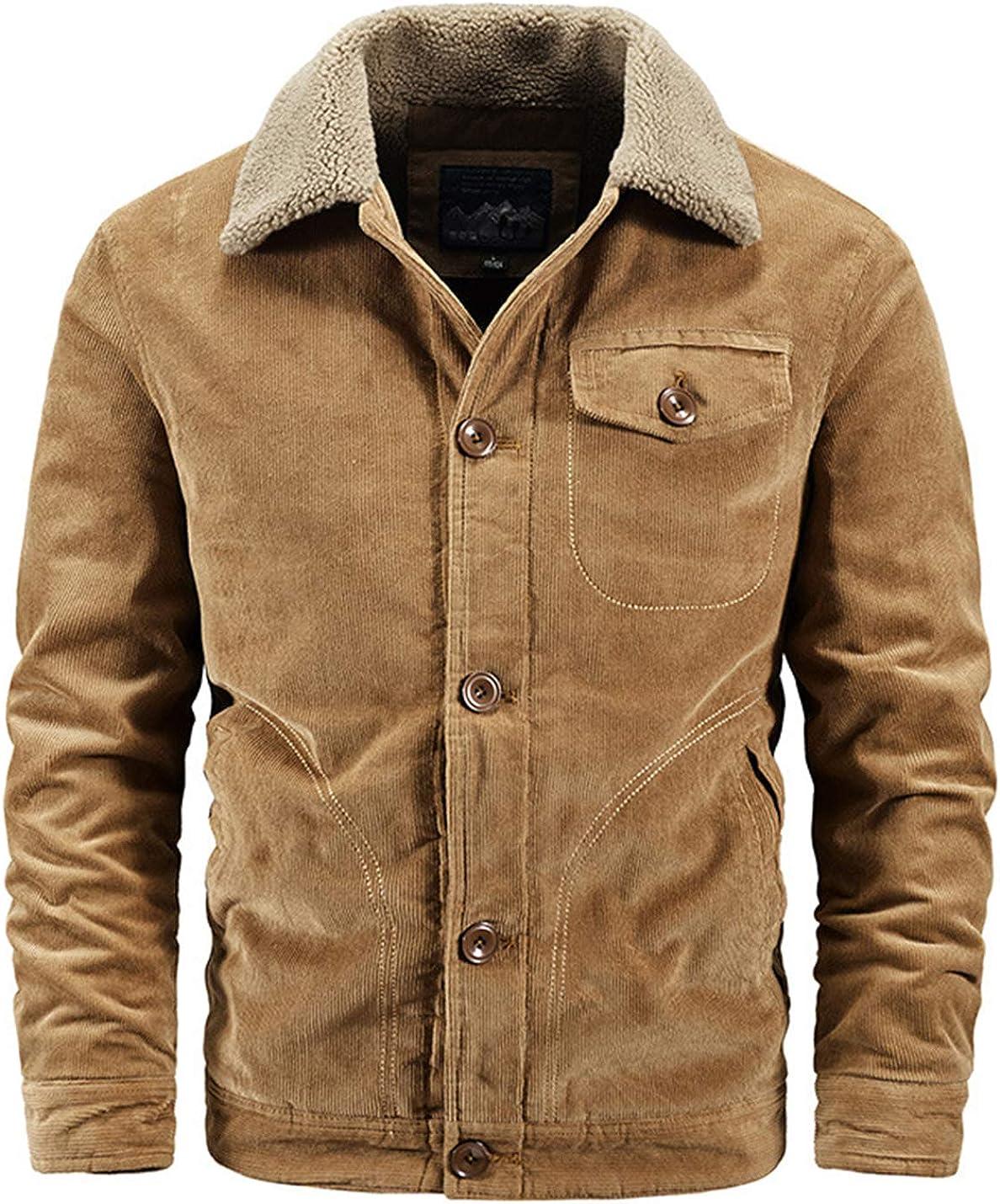 Flygo Men's Western Warm Fleece Sherpa Lined Button Down Corduroy Trucker Jacket