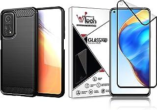 (1+1) WTech جودة عالية لـ Xiaomi Mi 10T 5G/10T Pro 5G - سيليكون ناعم TPU مقاوم للصدمات غطاء خلفي نحيف للغاية + واقي شاشة غ...