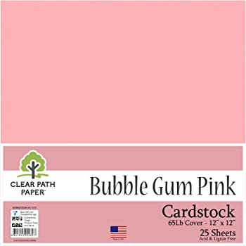 12 x 12 inch 65Lb Cover 25 Sheets Pink Cardstock